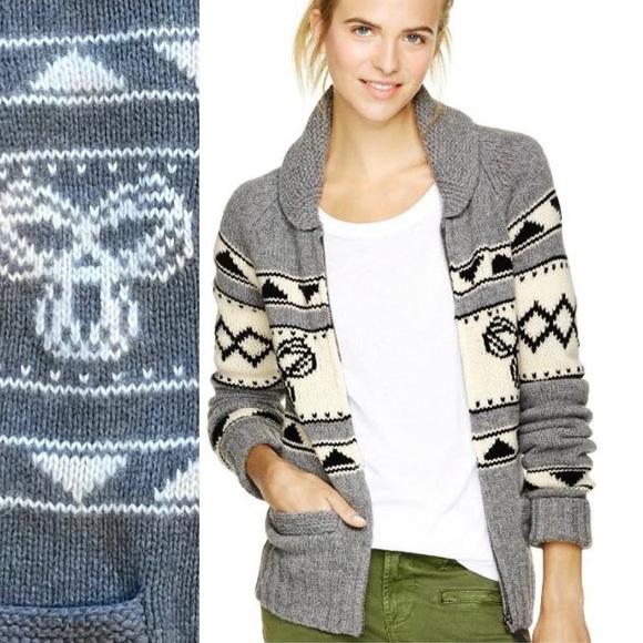 Aritzia TNA Sea To Sky Lambswool Zip Up Sweater